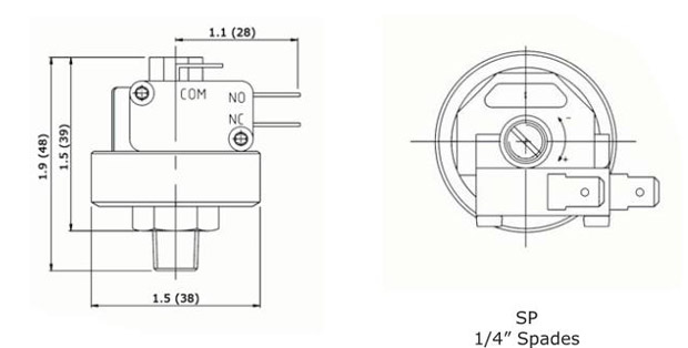 Anfield SPAH / SPFH Pressure Switch - Dimensions