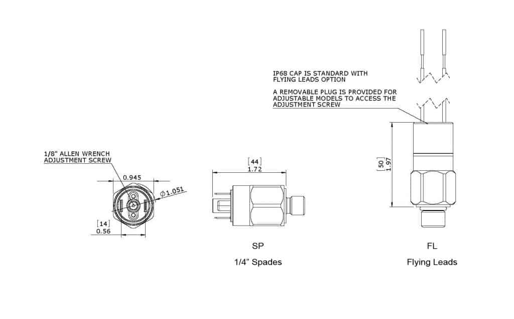 Anfields' SKBA Pressure Switch Dimensions