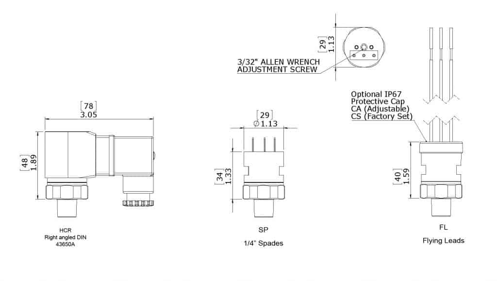 Anfields' SWA Pressure Switch Dimensions